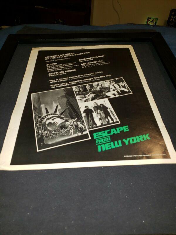 Escape From New York Rare Original Promo Poster Ad Framed!