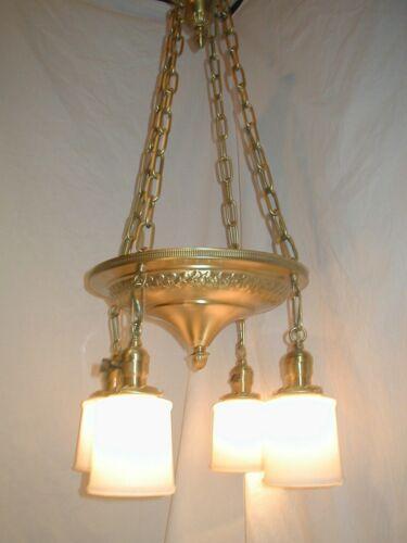 Antique Vtg Art Deco Nouveau 4 glass Shade Brass Pan Light Chandelier Restored