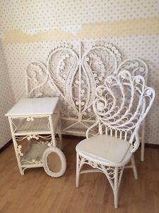 Vintage Wicker Headboard, Table, Mirror, and Chair