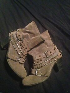 Studded grey suede boots