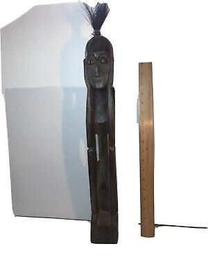 "Vintage AFRICAN FOLK ART HAND CARVED WOOD FIGURE - 22"" Squatting Man"
