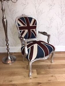 French Louis style Union Jack chair with Silver frame & Union Jack Chair | eBay