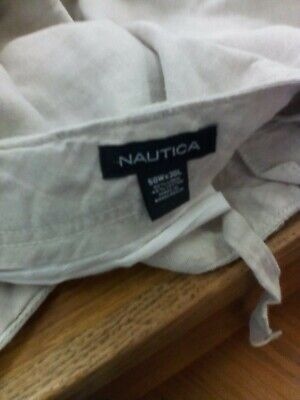 Nautica Drawstring Linen Blend cargo Khaki Pants Mens Big N Tall 50 X 30
