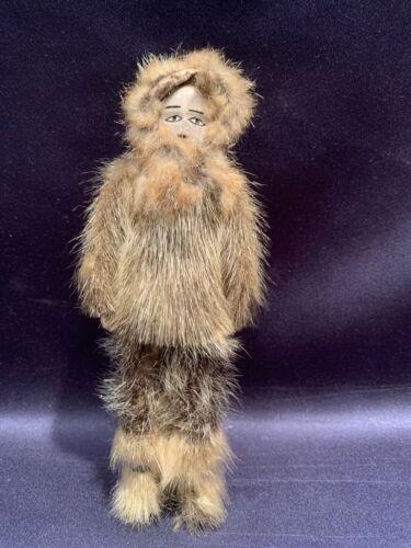 Vintage Alaska Shishmaref Eskimo Doll Handmade Fur Handcarved Reindeer Horn Face