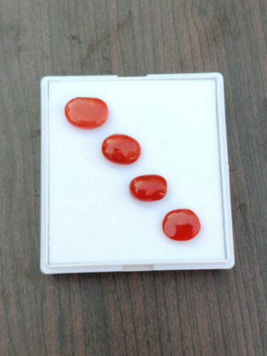 NATURAL TOP QUALITY ITALIAN RED CORAL LOOSE GEMSTONE CABOCHON 4 PCS LOT
