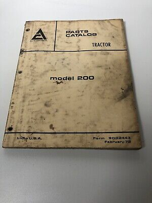 Allis Chalmers 200 Model Tractor Parts Catalog Manual. Original