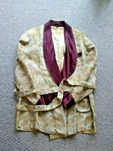 50s VTG Mens Silk Smoking Jacket  XLarge