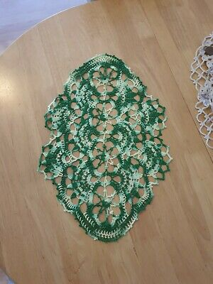 Green handmade 17'x11' crochet runner, slightly stiffened, cotton, vintage decor