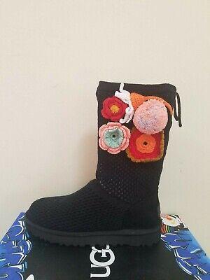 Ugg Australia Women's  Classic Floral Crochet Genuine Shearling Boots Size 6 NIB