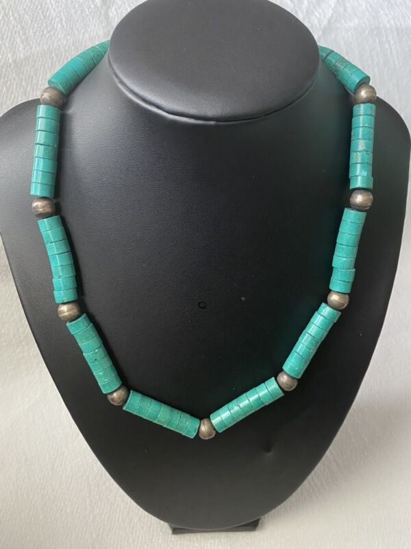 """Vintage Navajo Sterling Silver Cyan Turquoise Heishi Necklace 18"""" Long"""