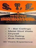T-bar ceilings/ drywall