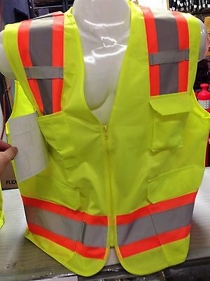 Small Lime Ansi Class 2 Bordered Reflective Tape High Visibility Safety Vest