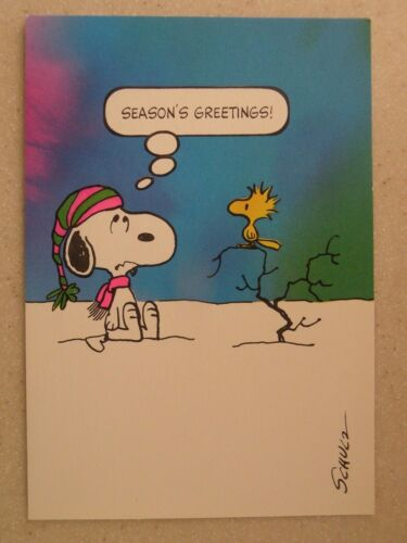 Unused Peanuts Christmas Greeting Card Snoopy & Woodstock Humorous Hallmark