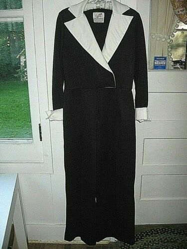 LOVELY VINTAGE 1980 CARON BLACK WHITE PALAZZO PANT JUMPSUIT