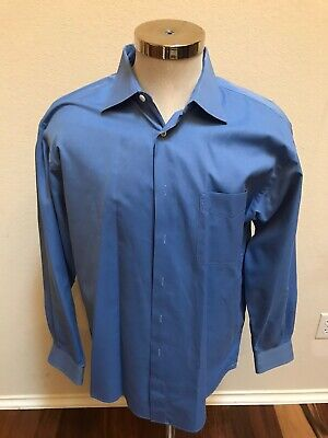 Ike Behar Mens Dress Shirt Sz 16 34 in True Blue Color Pre-owned