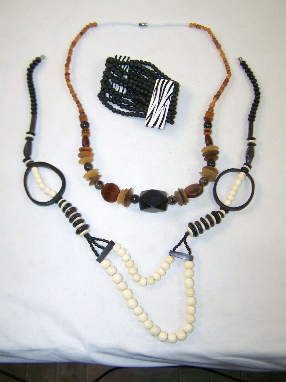Tribal Vintage costume Jewelery African bead style 2 necklace and 1 bracelet lot
