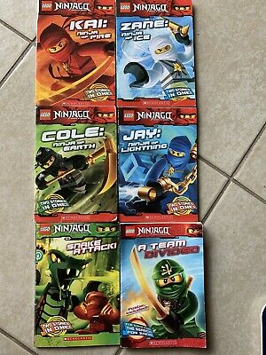 4) Lego Ninjago 6 Chapter Books Cole, Jay, Kai, Zane AND 1 Double Book W/poster