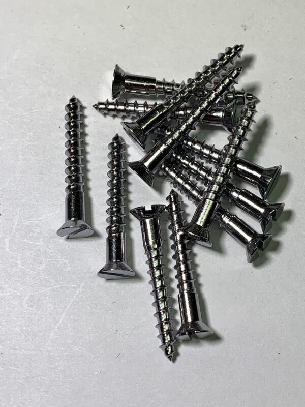 """Wood Screw #8x1-1/4"""" Slotted Flat Head Chrome"""