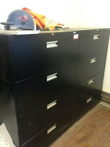 """Black Lateral Filing Cabinets 18"""" Deep x 3' wide x 54"""" High"""