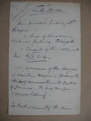 1886  Henry Ward Beecher Sermon Notes (and more) -Plus wife signed note