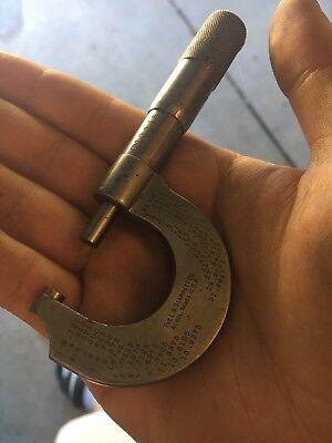 Vintage L S  Starrett No  203 C 0 1  Micrometer Made In Usa