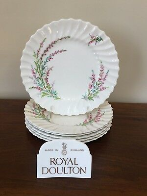 """Bell Heather (Royal Doulton BELL HEATHER SCALLOPED 9 ¼"""" Luncheon Plate~ Set of 6 (Lot A))"""