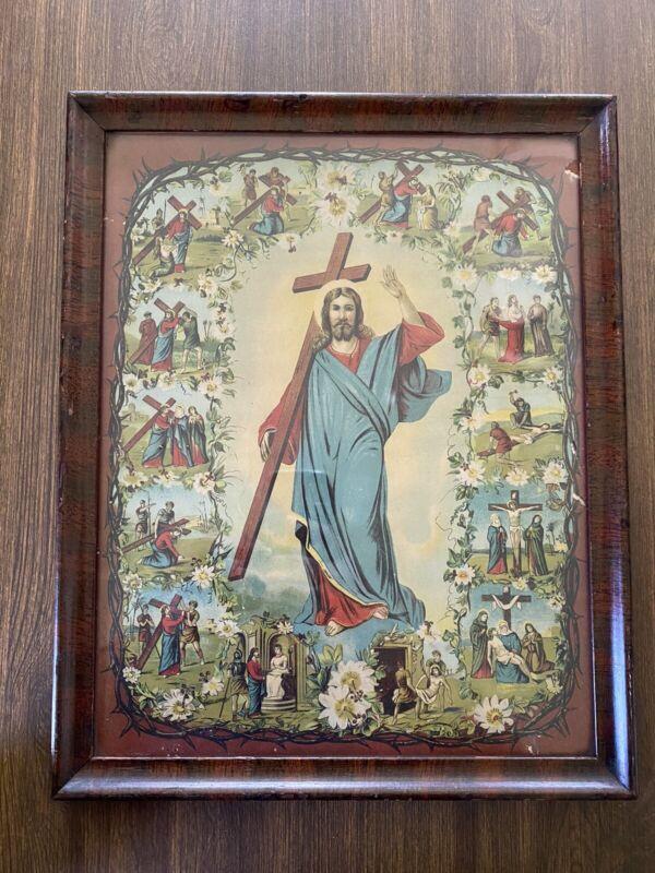 Antique Jesus, Stations Of The Cross Framed Art Print