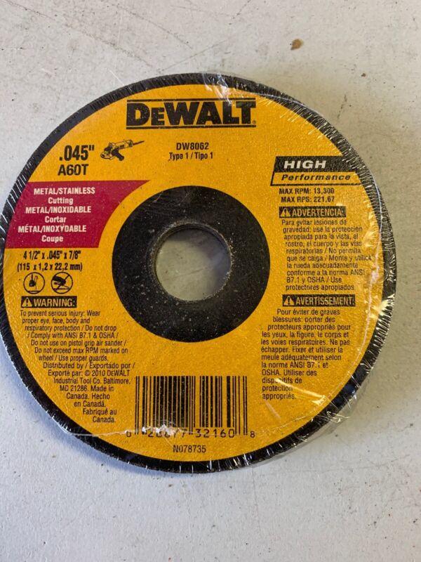 DEWALT 4.5-inch Type 1 HP Metal Cutting Wheel (DW8062) (Box Of 20)