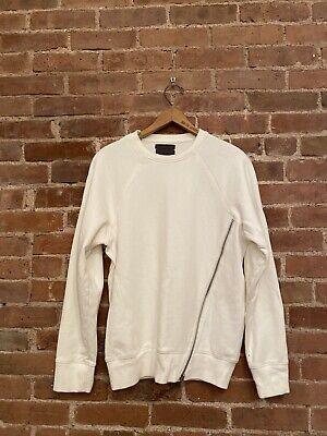 Siki IM DEN IM Men's Sweatshirt, Asymmetrical Zip White Large