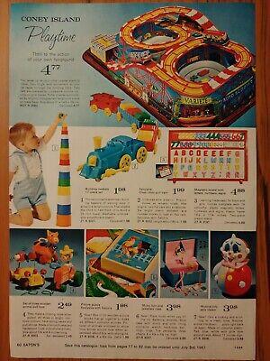 1966 Vintage PAPER PRINT AD Coney Island choo-choo train music box jingles horse