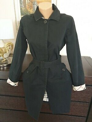 Ladies Cotton Black Burberry Trench Coat Size UK 6/8