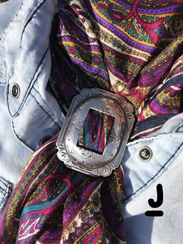 Scarf Slide Wild Rag Western Cowboy Buckaroo Buckle Slide- Antique Silver