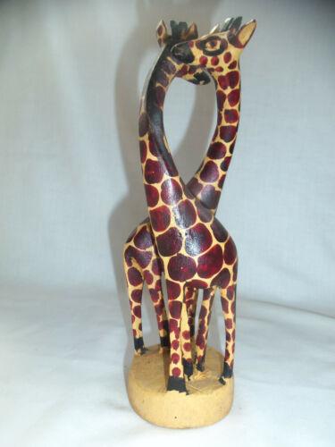 """African Art Wood Two Giraffes Hand Carved Sculpture 8.5"""" Giraffe Couple Figurine"""