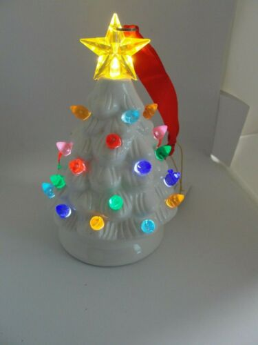 "NEW Ceramic Light Up Christmas Tree White 5.5"" Tall battery powered"