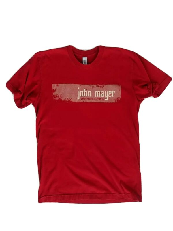 John Mayer Winter Tour Concert T-Shirt Tee Medium Red Short Sleeves Made In USA