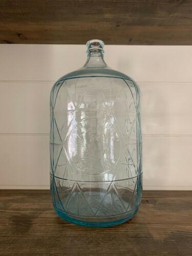 Vintage Indian Head Mineral Water Embossed 5 Gal. Blue Glass Jug Bastanchury
