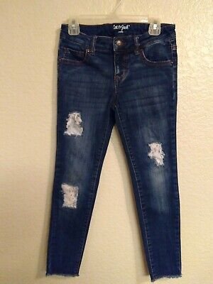 Cat & Jack Girls Dark Denim Distressed Raw Edge Stretch Skinny Jeans Size 8
