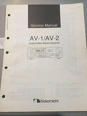 Nakamichi Service Manual AV-1 / AV-2 Audio / Video Receiver -