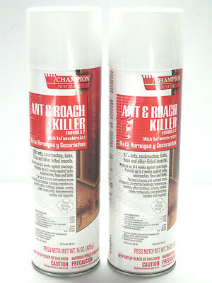 2 Champion Ant Roach Tick Flea Sow Bug Insect Killer Bug Treatment 15 oz. Cans