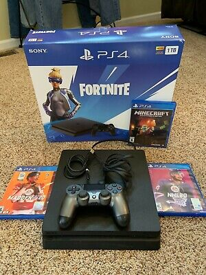 Sony PlayStation 4 PS4 Slim 1TB Black Console w/Controller + All Cords & Games!!