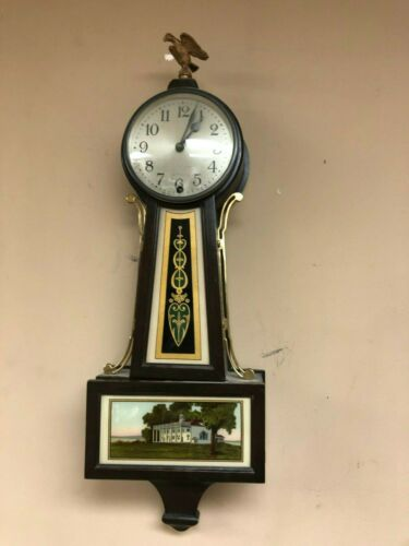 """New Haven """"Winsome"""" Banjo Key Wind 8 Day Wall Clock"""