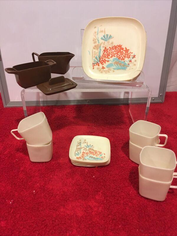 CHILD Toy Plastic DISHES TEA SET 21 PIECES JAPANESE GARDENS