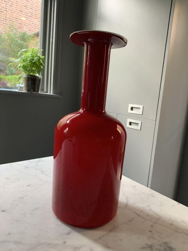 RETRO VINTAGE Scandinavian Glass OTTO BRAUER GULVASE DANISH HOLMEGAARD