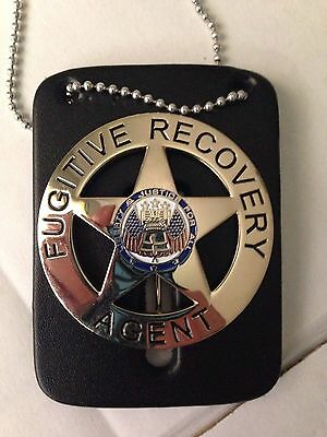 "FUGITIVE RECOVERY AGENT BADGE GOLD W/FREE LEATHER 2.25"" Bail Enforcement Bounty"