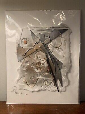 Kathy Sheldon Original Mixed Media 3D Paper Art Gallery Airplane Flight Abstract