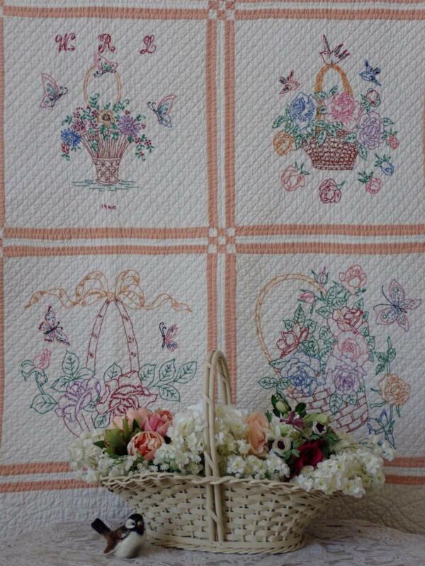 Gorgeous Handwork! Vintage 1940 Embroidered Flower Basket QUILT 70x70