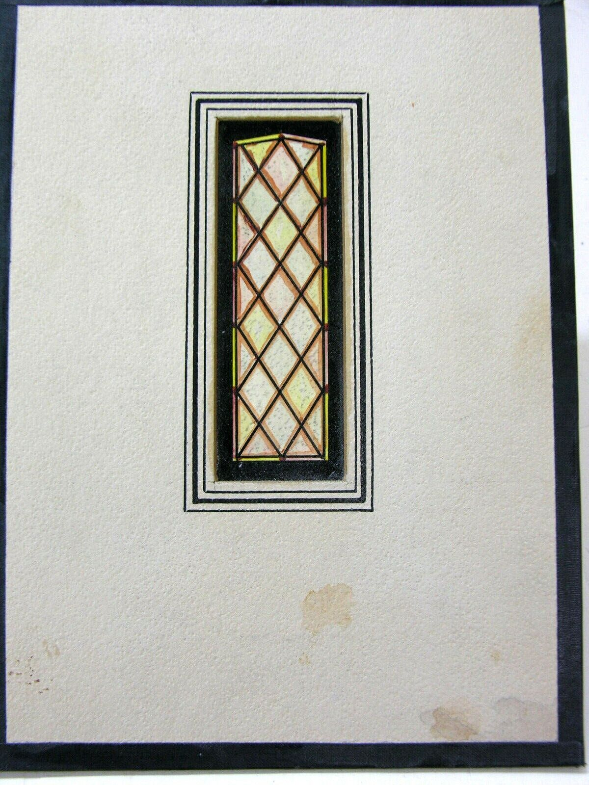 stained glass signed watercolor window study