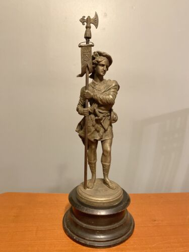 Antique Victorian Scottish Scots Guard Cast Metal Sculpture 17 Clock Topper  - $75.00