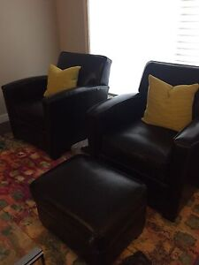 **REDUCED** URBAN BARN Club Chairs and Ottoman