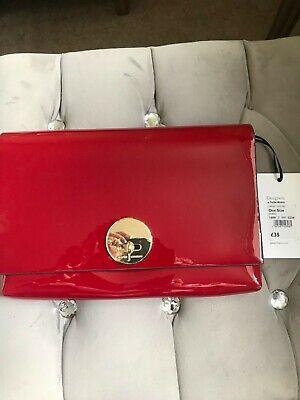 Jasper Conran Red Patent clutch bag - pretty chain strap - Brand NEW - RRP £35